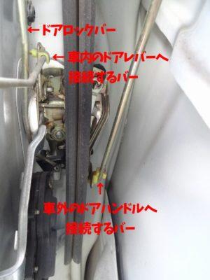 ラパン左前ドアロックアクチュエーターに接続されているバー